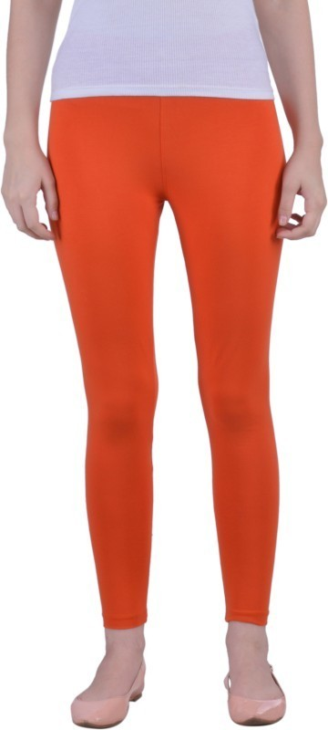 Dollar Missy Ankle Length  Legging(Orange, Solid)