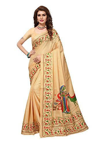 a4ddc10f70738 Kanchan Women's Printed Cotton Blended Kalamkari Art Silk Saree With Blouse  Piece (KSH KALAMKARI 8 CREAM_Multi ...