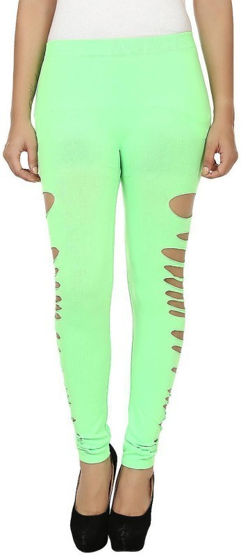 N-Gal Ankle Length  Legging(Green, Solid)