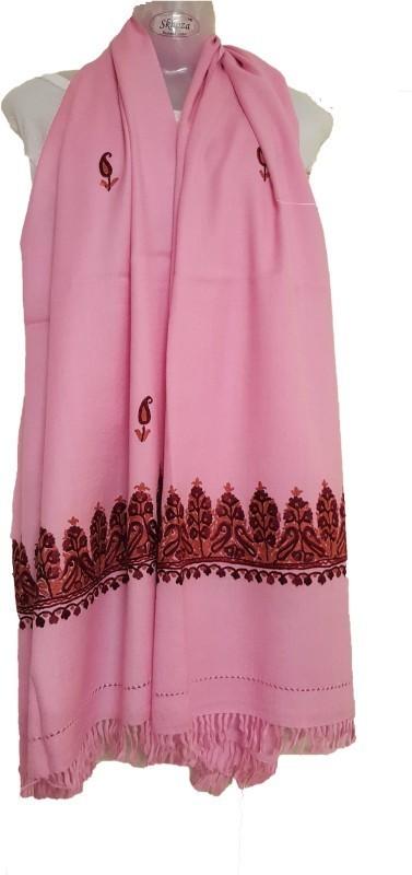 Skhoza Wool Embroidered Women's Shawl(Pink)
