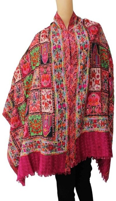 Matelco Wool, Pashmina Embroidered, Graphic Print Women Shawl(Multicolor)