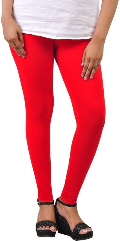 Comfort Lady Ankle Length  Legging(Red, Solid)